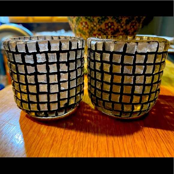 Pottery Barn Rustic Glass Votive Candle Holders
